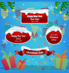 set of winter promotion design template vector image vector image