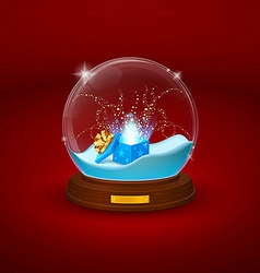 Shimmering glass bowl statuette with snow and open vector