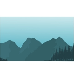 Silhouette of beautiful mountain views vector image