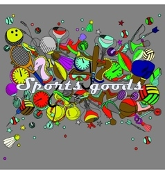 Sport goods line art design vector