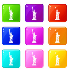 statue of liberty icons 9 set vector image
