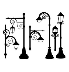 Street lamp road lights silhouettes vector