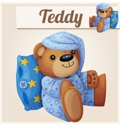 Teddy bear in pajamas with pillow vector