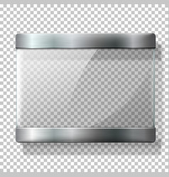 Transparent glass plate with metal holders vector