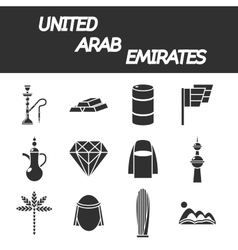 United arab emirates icon set vector