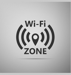 wi-fi network flat icon on grey background vector image
