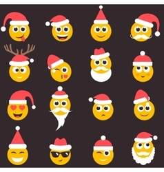 Christmas emotional face icons with santa hat vector