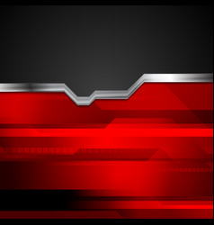 Red and black tech metallic style background vector