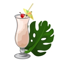 Cocktail with cherry straw umbrella and leaf vector
