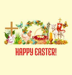 Happy easter day greeting banner design vector