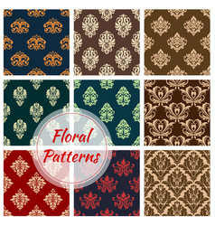 Floral ornament seamless patterns set vector