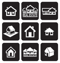 House icons set real estate vector