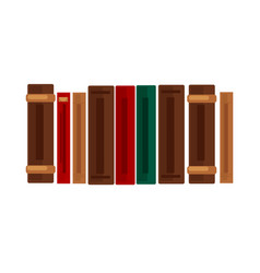 Row of books with brown red and green covers vector