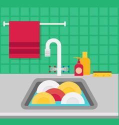 Kitchen sink flat vector