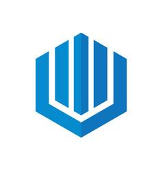 hexagon home building company logo vector image