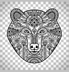 Doodle bear face on transparent background vector