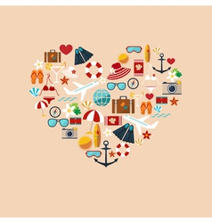 Heart from summer icons color vector