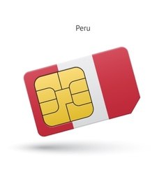Peru mobile phone sim card with flag vector