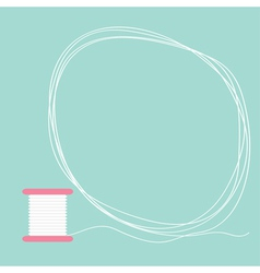 Spool of thread round frame flat desigh love card vector