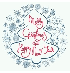 Cute xmas greeting card with fir tree vector