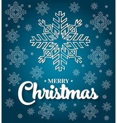 Christmas card with white snowflakes on blue vector