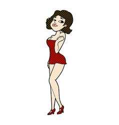 Comic cartoon attractive woman in short dress vector