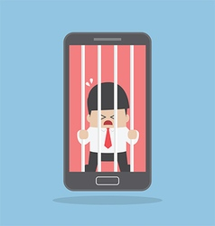 Businessman locked in smartphone vector