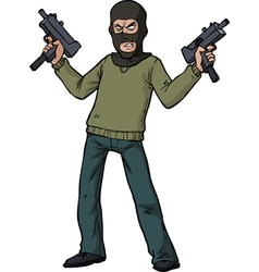 Gunman with an automatic weapon vector