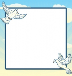 Dove in flight frame design vector