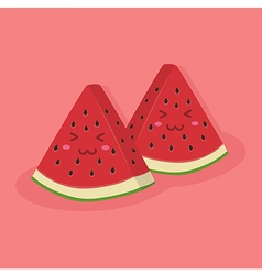 Cute watermelon fruit mascot pink vector