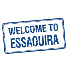 Welcome to essaouira blue grunge square stamp vector