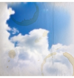 Abstract background with blue sky and clouds with vector