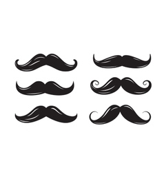 Black mustache icons vector