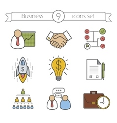Business color icons set vector