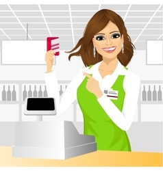 cashier pointing at a credit card vector image vector image