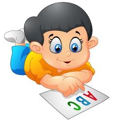 Children reading cartoon vector