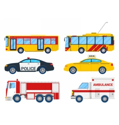 City transportation set with bus trolley and taxi vector