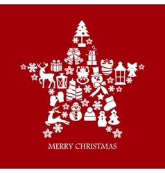 Collection of star silhouette christmas elements vector