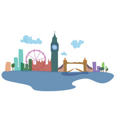 Colored silhouettes of london and its sights vector