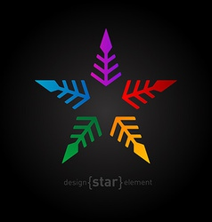 colorful star Abstract design element on black vector image vector image