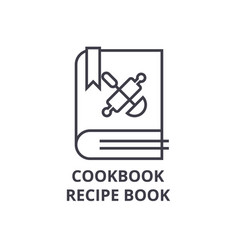 cookbook recipe book line icon outline sign vector image