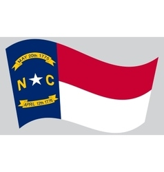 Flag of north carolina waving on gray background vector
