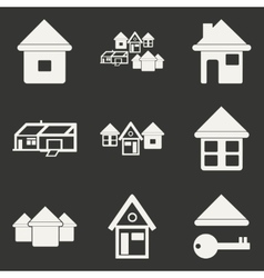 Flat in black and white mobile application houses vector