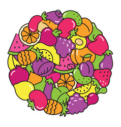 fun image of vegetables and fruit in the form of a vector image vector image