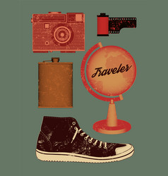 Grunge set of retro things for traveler vector