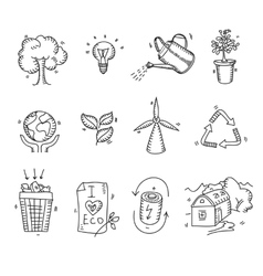 Hand drawn doodle sketch ecology organic icons eco vector image vector image