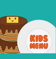 kids menu tasty pancake breakfast vector image