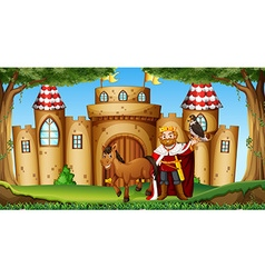 King and horse at the castle vector image vector image
