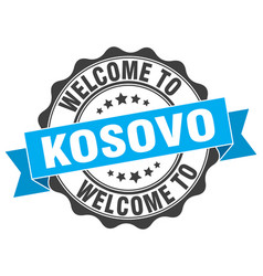 Kosovo round ribbon seal vector