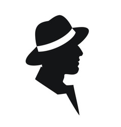 Man in a hat -black silhouette on white background vector image